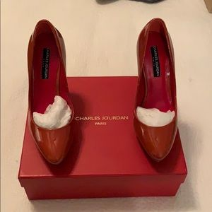 Red Patent Leather Charles Jourdan Pumps